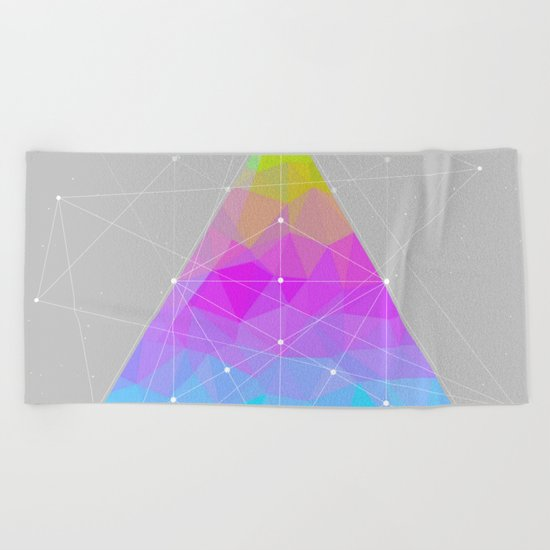 The Dots Will Somehow Connect (Geometric Pyramid) Beach Towel