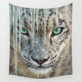 Snow Leopard - Blue Ice Wall Tapestry