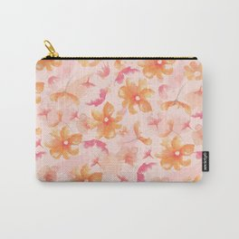 Pink Coral Floral Carry-All Pouch