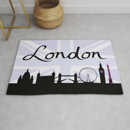 London Script on Union Jack Sky & Sites Purple Rug