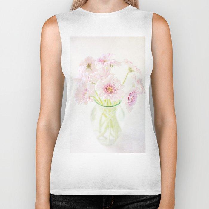 Pink Gerberas In A Vase {Light Textured Version} Biker Tank