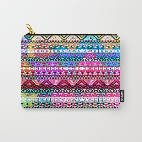 Neon Aztec | Purple Pink Neon Bright Andes Abstract Pattern Carry-All Pouch