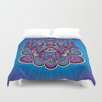 hamsa Duvet Covers featuring HAMSA by Fly Design Studio