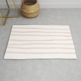 Seashell Pink Watercolor Stripes Rug