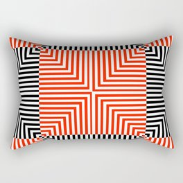 Optical illusion with red and black stripes Rectangular Pillow