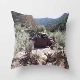 Antique Car in Ghost Town Throw Pillow