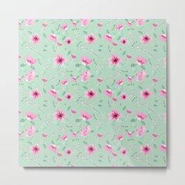 Fushia and Jade Floral Metal Print