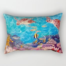 Zach's Seascape - Sea turtles Rectangular Pillow