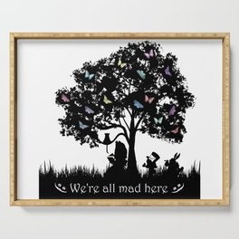We're All Mad Here III - Alice In Wonderland Silhouette Art Serving Tray