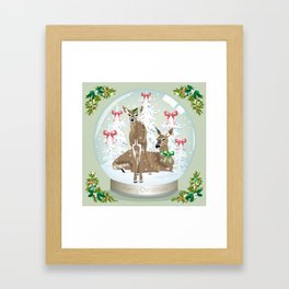 Snow globe deer Framed Art Print