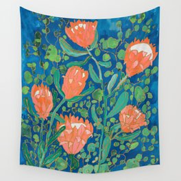 Coral Proteas on Blue Pattern Painting Wall Tapestry