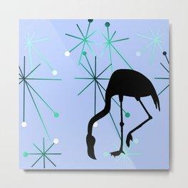 Flamingo MidCentury Modern Atomic Starburst Blue Metal Print