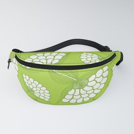 African Floral Motif on Green Fanny Pack