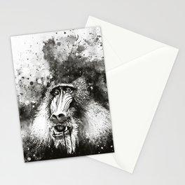 baboon monkey wsbw Stationery Cards