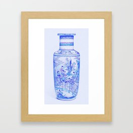 A BLUE AND WHITE 'LANDSCAPE' VASE QING DYNASTY, KANGXI PERIOD 3 art by Ahmet Asar Framed Art Print
