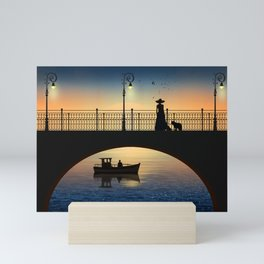 Romantic meeting by the river in the sunset Mini Art Print