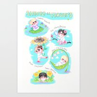 shinee Art Prints featuring SHINee Flowers by sophillustration