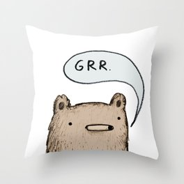 Growling Bear Throw Pillow