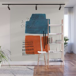 Burnt Orange Jewel Teal Blue Mid Century Modern Funky Colorful Shapes Patterns by Ejaaz Haniff Wall Mural