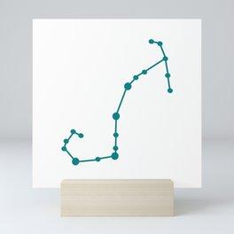 Scorpio (Teal & White) Mini Art Print