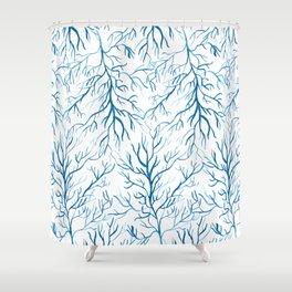 Coral Leaf Blue Shower Curtain