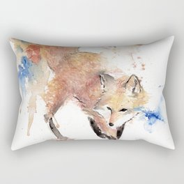 """Watercolor Painting of Picture """"Red Fox"""" Rectangular Pillow"""