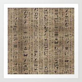 Egyptian hieroglyphs on wooden texture Art Print