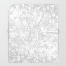 Silver Snowflakes Throw Blanket