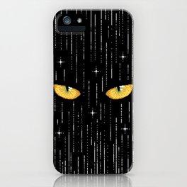 Spooky Halloween Cat Eyes Pixel Art iPhone Case
