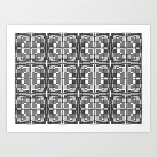 Black and White Cross Pattern Art Print