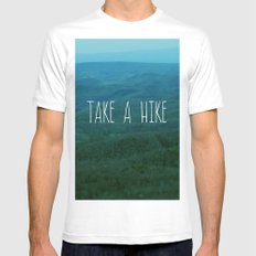 Take A Hike MEDIUM White Mens Fitted Tee