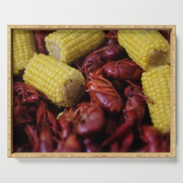 Boiled Crawfish and Corn on the Cob Serving Tray