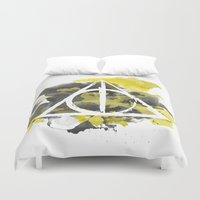 deathly hallows Duvet Covers featuring The Deathly Hallows (Hufflepuff) by FictionTea