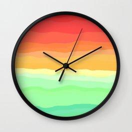 Rainbow - Cherry Red, Orange, Light Green Wall Clock