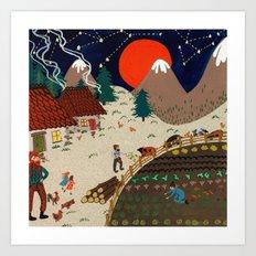 Mountain farm Art Print