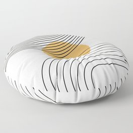 Geometric Lines in Black and Beige 28 (Rainbow and Sun Abstraction) Floor Pillow