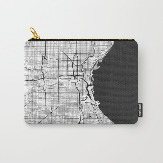Milwaukee Map Gray Carry-All Pouch