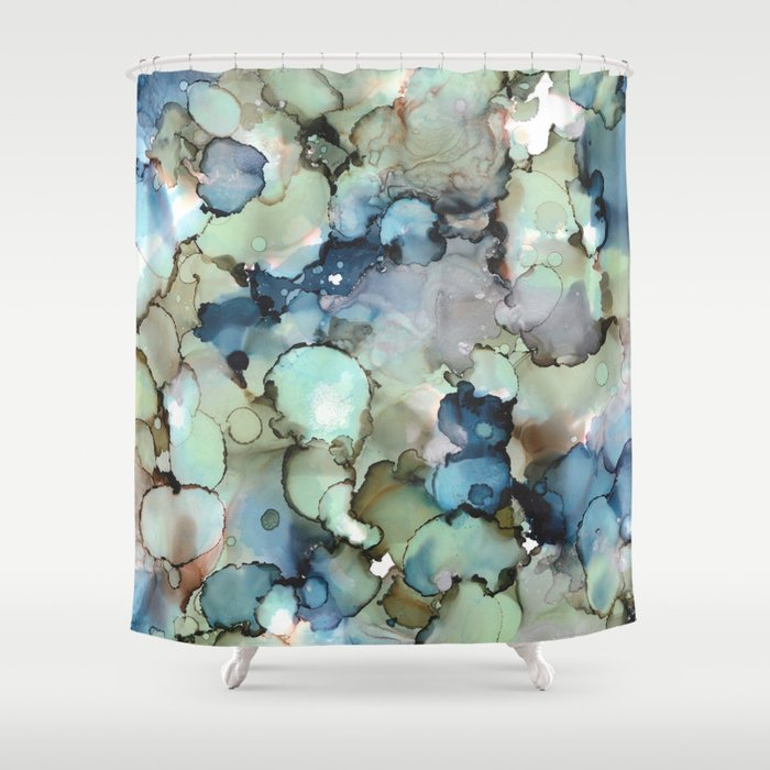 Alcohol Ink Sea Glass Shower Curtain By Stephaniesommerladbello