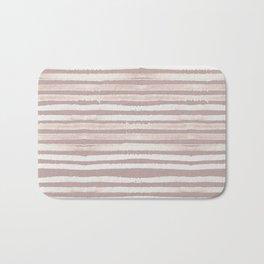 Simply Shibori Stripes Lunar Gray on Clay Pink Bath Mat