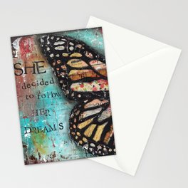 She decided to follow her dreams Stationery Cards