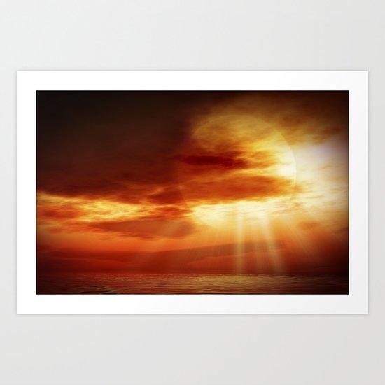 sunrise in the sea Art Print