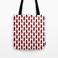 nail polish Tote Bags featuring Red Nail Polish by lilacattack