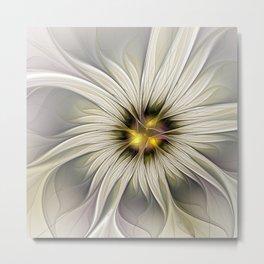 Blossom, Abstract Fantasy Flower Fractal Art Metal Print