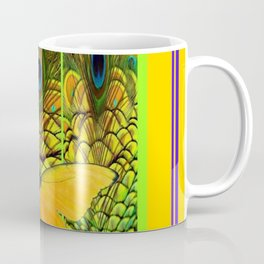 ART NOUVEAU YELLOW BUTTERFLY PEACOCK FEATHERS Coffee Mug