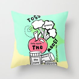 Toss the Meds by Rosalie - Zine Page Throw Pillow