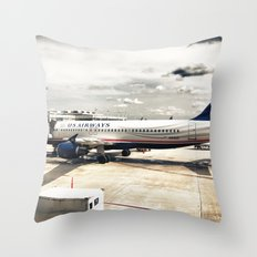 US Aiways Plane at Ronald Reagan Washington National Airport Throw Pillow