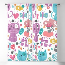 Cute Cats with Abstract Background Blackout Curtain