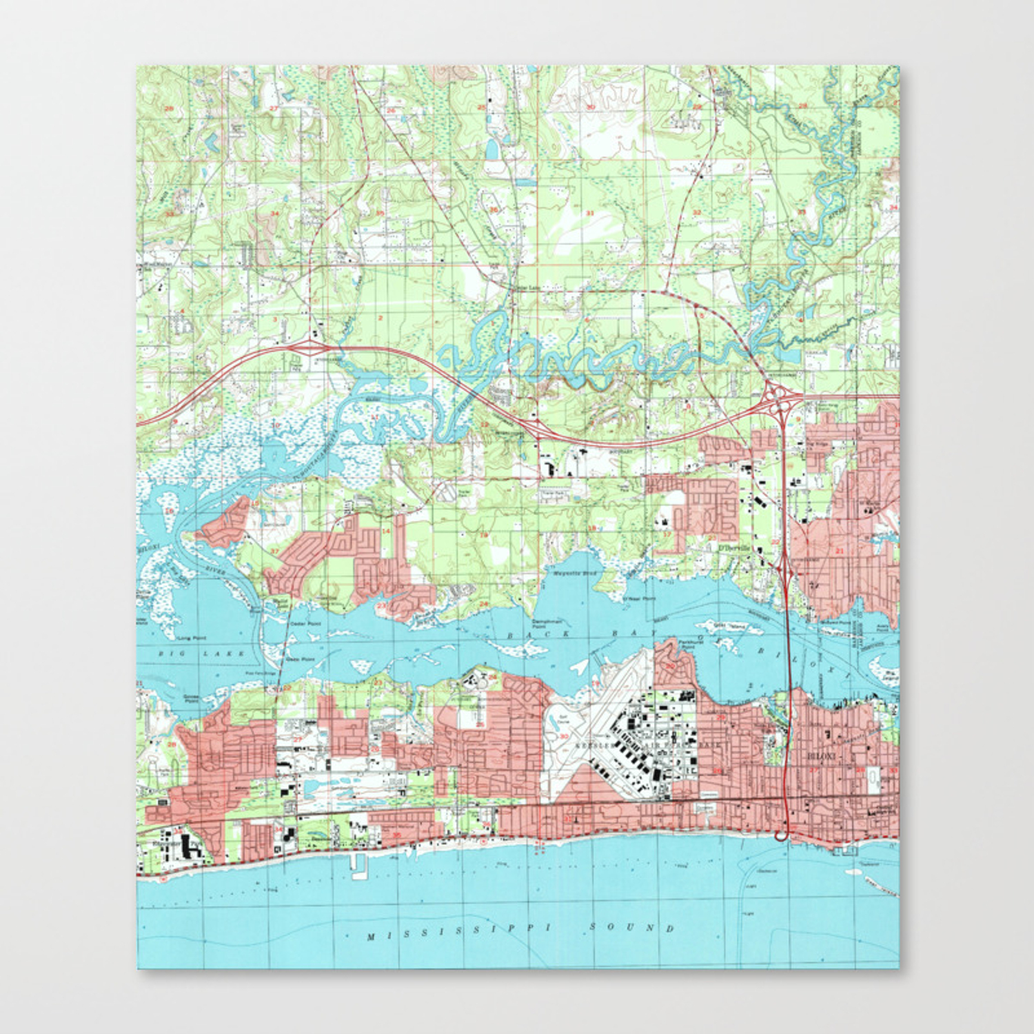 Biloxi Mississippi Map 1992 Canvas Print By Bravuramedia Society6