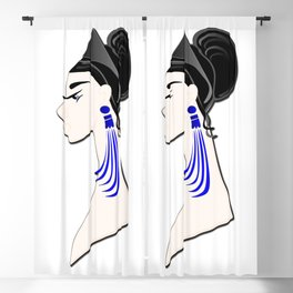 Art - a beautiful brunette with glasses and blue earrings Blackout Curtain