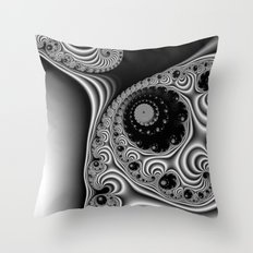 Black and White Fractal 12 Throw Pillow